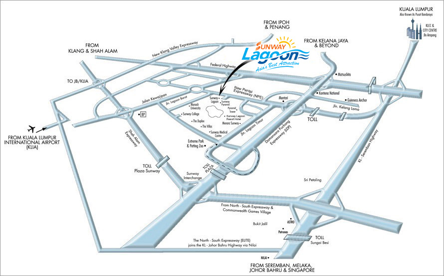 Map To Sunway Lagoon